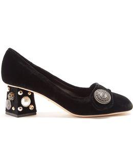 Block-heel Embellished Velvet Pumps
