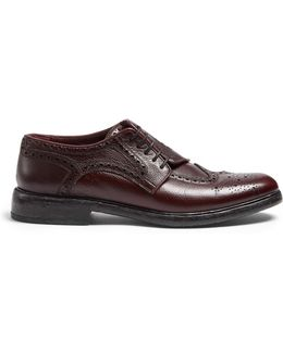 Asymmetric Grained-leather Brogues