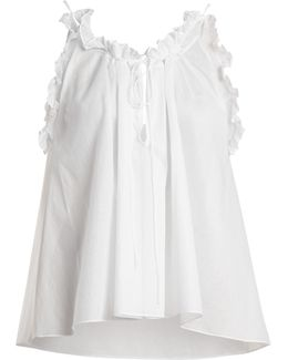Erissena Ruffle-trimmed Cotton Pyjama Top