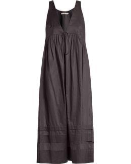 Lindera V-neck Pleated Cotton Nightdress