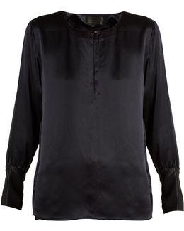 Kayla Long-sleeved Silk-satin Blouse
