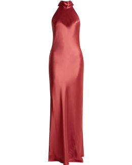 Halterneck Silk-satin Gown