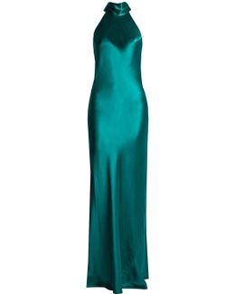 Halterneck Silk-satin Gown