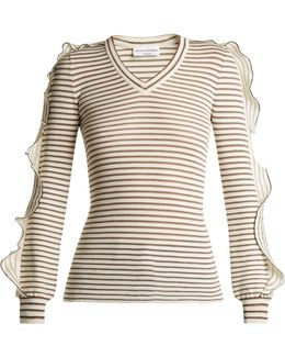 Ruffle-trimmed Striped Cotton-blend Sweater