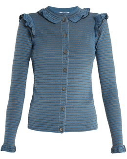 Striped Ribbed Cotton-blend Cardigan