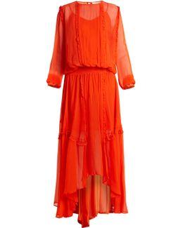 Martina Ruffled Crepe De Chine Maxi Dress
