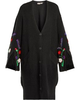 Ada Oversized Floral-embroidered Knit Cardigan