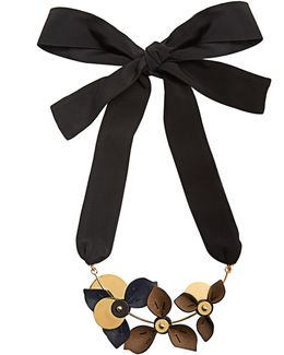 Floral Leather-petal Self-tie Necklace
