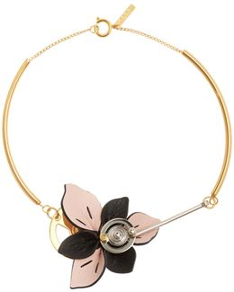 Floral Leather-petal Necklace