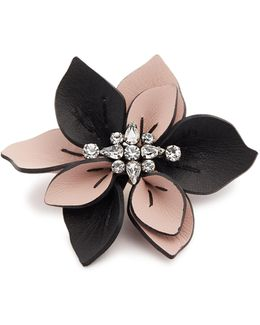 Crystal-embellished Flower Leather Brooch