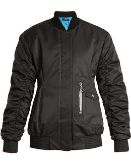 Cars And Races Gathered-sleeved Bomber Jacket