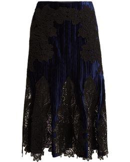 Lace-appliqué Crinkled Velvet Midi Skirt