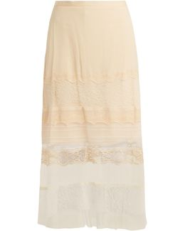 Lace-panel Silk-georgette Skirt