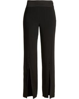 High-rise Slit-hem Crepe Trousers