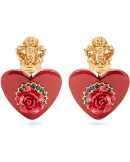 Crown And Heart-embellished Clip-on Earrings