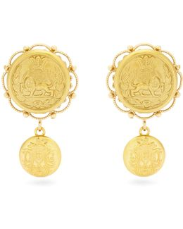 Crest-embossed Clip-on Earrings