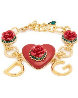 Heart And Rose-embellished Bracelet