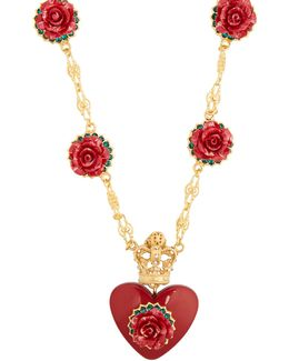 Heart And Rose-pendant Necklace