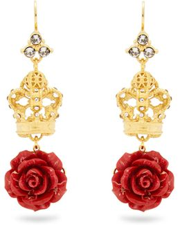 Crown And Rose Drop Earrings
