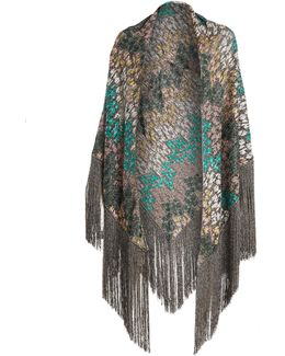 Embroidered-knit Scarf