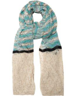 Striped Pointelle-knit Scarf