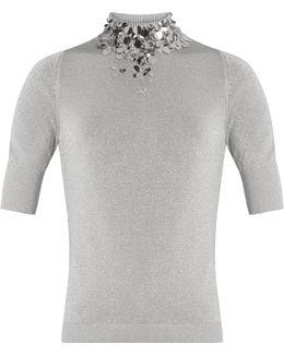 Embellished-neck Knit Top