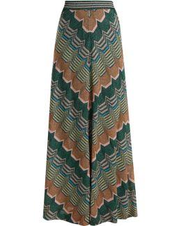 Geometric-knit Flared Skirt