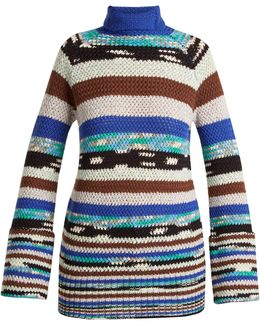 Roll-neck Striped Wool-blend Knit Sweater