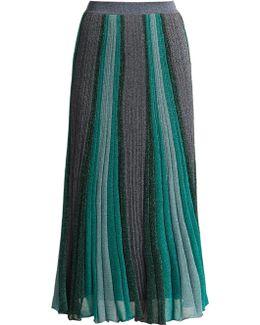 Striped Pleated Knit Midi Skirt
