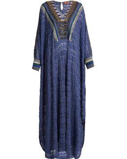 Embellished-neckline Metallic-knit Kaftan