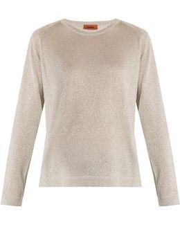 Round-neck Metallic-knit Sweater