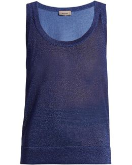 Metallic Ribbed-knit Tank Top