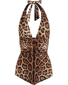 Leopard-print Ruched Halterneck Swimsuit