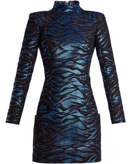High-neck Animal-jacquard Mini Dress