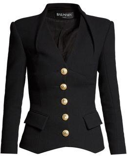 Collarless Single-breasted Wool-blend Blazer