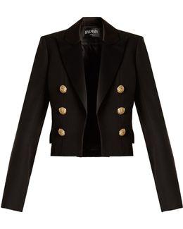 Satin-lapel Cropped Wool Jacket