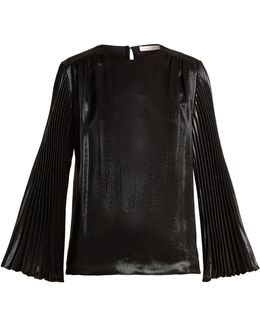 Pleated-sleeved Silk-blend Top