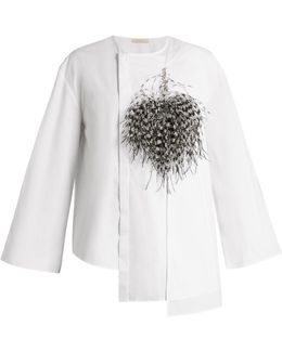 Feather-brooch Cotton-poplin Blouse