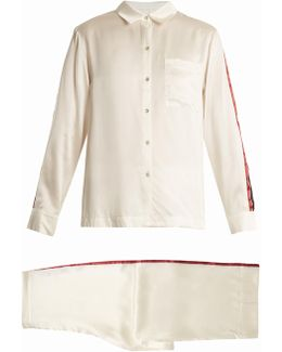 Contrast-striped Sandwashed-silk Pyjama Set