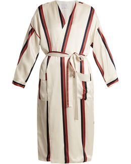 Contrast-striped Sandwashed-silk Robe