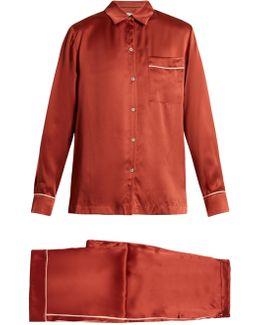 Piped-edge Sandwashed-silk Pyjama Set