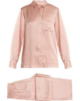 Matchstick-print Silk-satin Pyjama Set