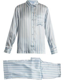 Striped Sandwashed-silk Pyjama Set