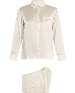 Piped-edge Silk-satin Pyjama Set