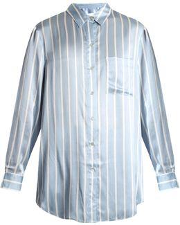 Striped Sandwashed-silk Pyjama Shirtdress