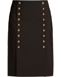 Button-down Wool-gabardine Pencil Skirt