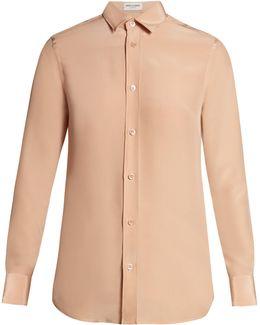 Point-collar Crepe De Chine Shirt