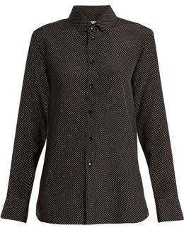 Polka-dot Print Silk Shirt