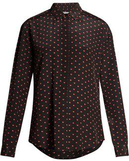 Heart-print Silk Shirt