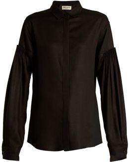 Point-collar Gathered-sleeve Shirt